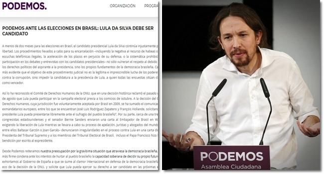 pablo iglesias Podemo espanha manifesto em defesa de Lula