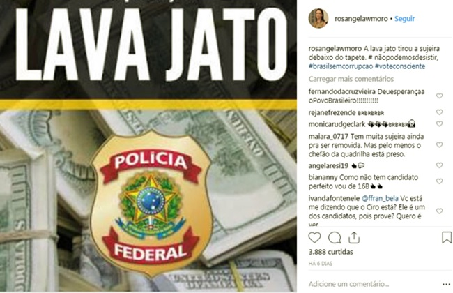 desespero de Rosângela Moro no Instagram eleições pt voto consciente