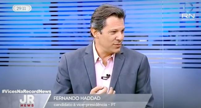 entrevista Fernando Haddad Record News eleições 2018