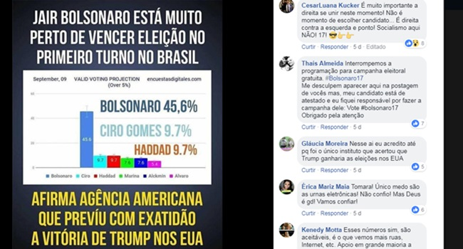 fake news vitória de Bolsonaro 1º turno eleições 2018