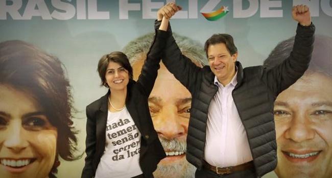 haddad manuela candidato oficial lula pt eleições 2018