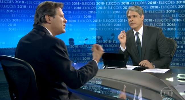 Haddad embate Bonner Jornal Nacional globo eleições 2018