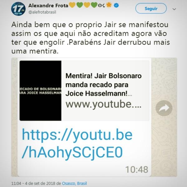 joice hasselmann briga intern psl campanha bolsonaro frota federal