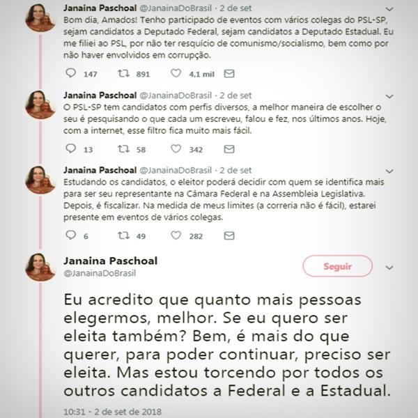 joice hasselmann briga intern psl campanha bolsonaro frota Janaina Paschoal