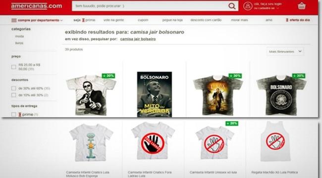 Lojas Americanas camisas anti-Lula pró-Bolsonaro