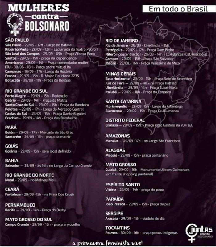 manifestações de mulheres contra Bolsonaro Brasil