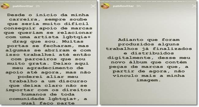 Pabllo Vittar rompe Cictor Vicenzza empresa Jair Bolsonaro