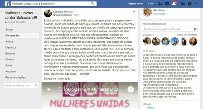 página mulheres contra Bolsonaro no Facebook milhão