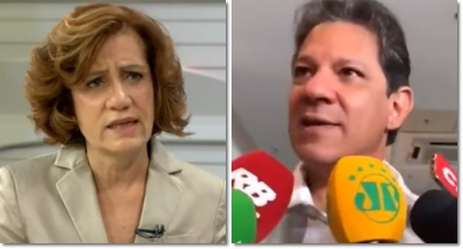 Atacada por Bolsonaristas Míriam Leitão Fernando Haddad
