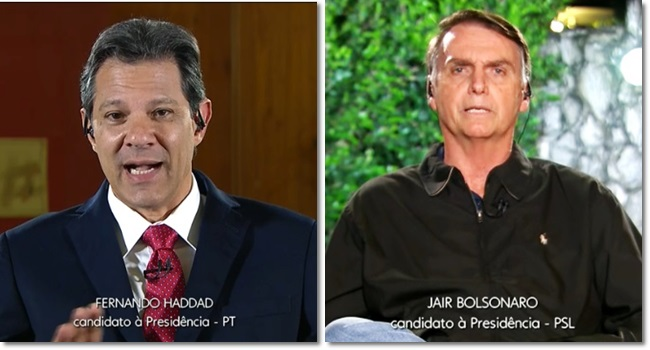 entrevistas Haddad e Bolsonaro Jornal Nacional 2º turno eleições 2018