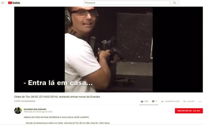 Eduardo Filho de Bolsonaro treinar tiro Santa Catarina dinheiro público câmara eleições