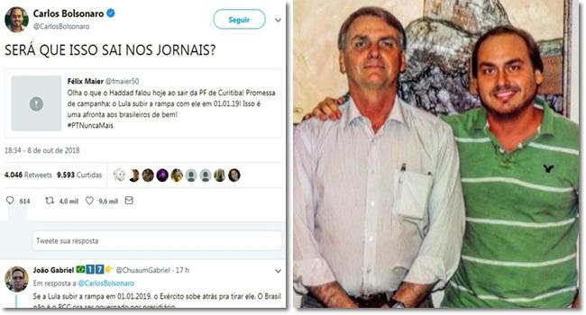 Filho de Bolsonaro espalhar fake news Haddad