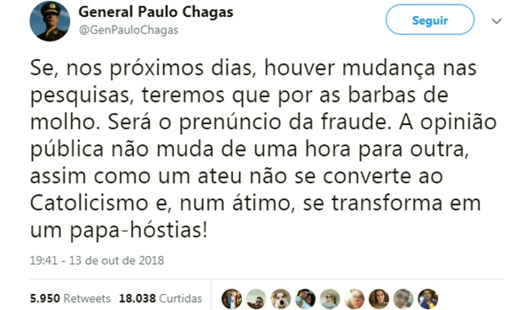 General Paulo Chagas aceita derrota Jair Bolsonaro