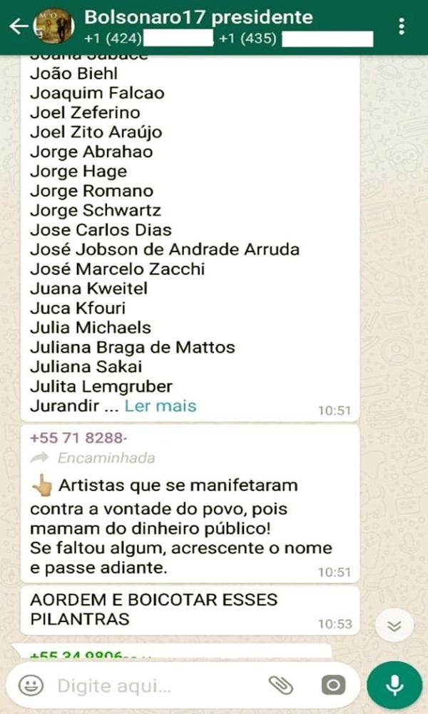 lista de artistas boicotado eleitores de Bolsonaro direita
