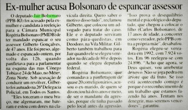 Rogéria Nantes Braga Bolsonaro de mandar espancar ex-colega mãe filhos eleições