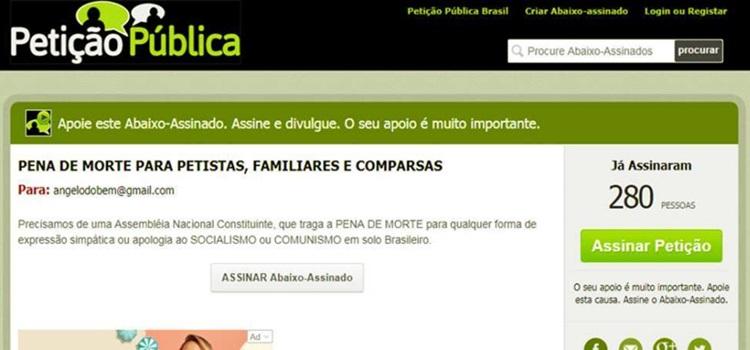 Petição pena de morte petistas familiares simpatizantes eleições bolsonaro