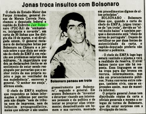 Reputação coronel Bolsonaro no exército era assustadora eleições