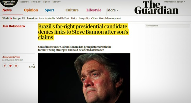 The Guardian Steve Bannon com Jair Bolsonaro fake news eua eleições trump