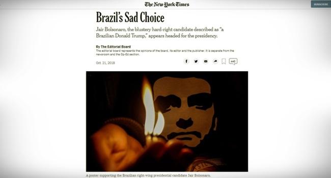 Triste escolha New York Times bolsoanro