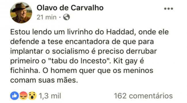 Olavo de Carvalho TSE liberou Bolsonaro campanha eleitoral sórdida história fake news mentiras boataria