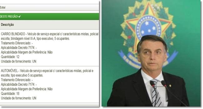 Bolsonaro usará carros resistem a tiros de submetralhadora