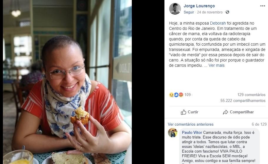 deborah cancer desabafo facebook