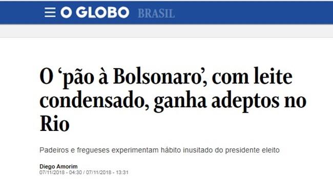 Globo vergonha alheia notícia pão à Bolsonaro propaganda