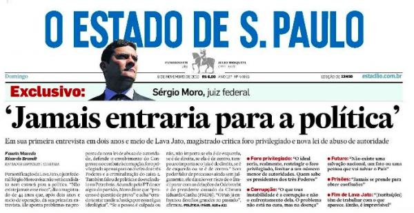 Sergio Moro entrevista Estadão