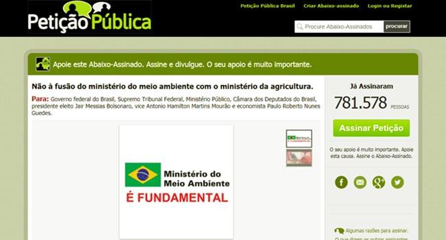 Petição contra fusão de ministérios assinaturas bolsonaro meio ambiente