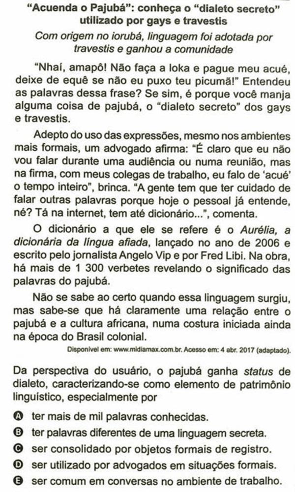 questão que motivou Bolsonaro a falar em censura prévia do ENEM