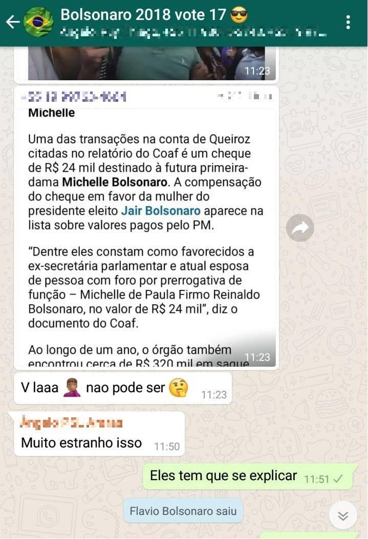 Flávio Bolsonaro grupo WhatsApp