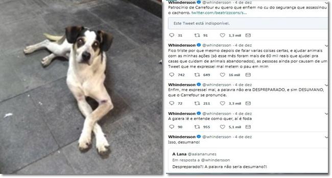 Youtuber xingamentos seguidores morte de cachorro Carrefour