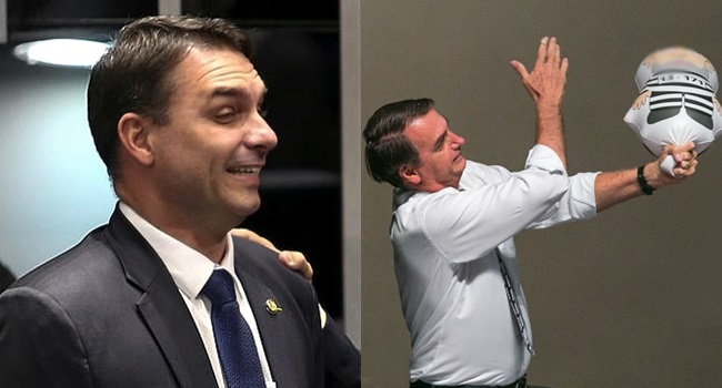 Erros de escrita Pixuleco inflável inFlávio bolsonaro queiroz corrupção