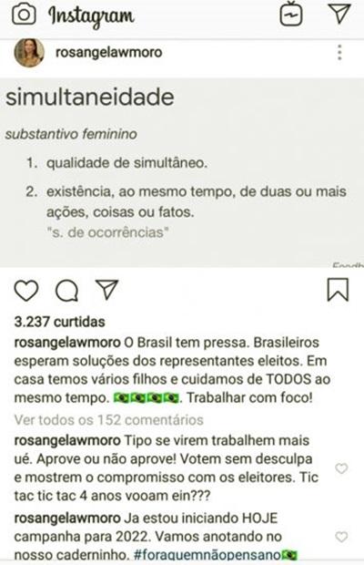 Esposa de Sergio Moro é uma espécie de Carlos Bolsonaro de saias
