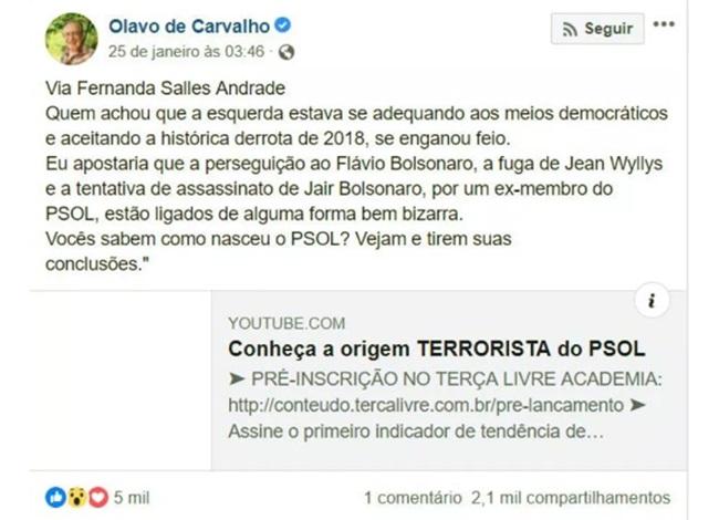 Olavo Frota Lobão bombaram fake news Jean Wyllys