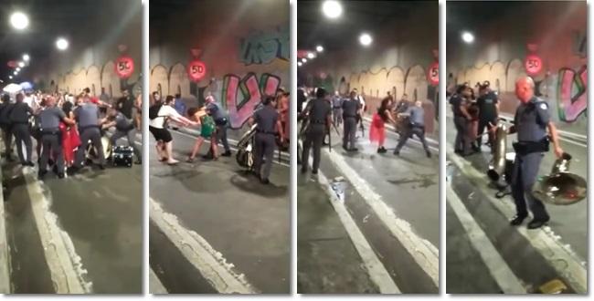 PM reprime bloco de Carnaval em SP e agride mulher