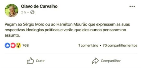 beija mão Sergio Moro em Olavo fim paladino da Justiça