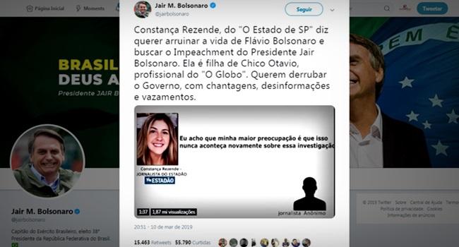 Bolsonaro espalha fake news sobre jornalista e irrita até aliados