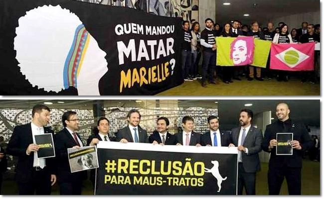 Deputados bolsonaristas latidos homenagem a Marielle congresso