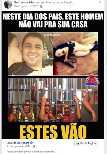 Guilherme compartilhou nas redes sociais post de Eduardo Bolsonaro e da página 'Direita Minas'. Foto: Reprodução de Internet