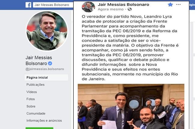 Perfil de Bolsonaro comete gafe e comprova que Carlos é quem gerencia a conta