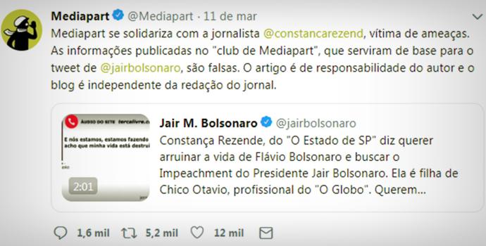 Site francês admite Bolsonaro reproduziu acusação falsa contra Cosntança Rezende