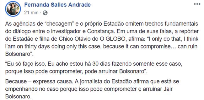 Site francês admite que Bolsonaro reproduziu acusação falsa contra Cosntança Rezende
