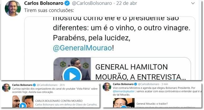 Ataques de Carlos Bolsonaro contra Mourão duram Twitter
