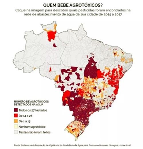 cidades do Brasil coquetel agrotóxicos água potáveis meio ambiente