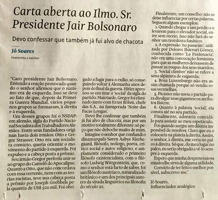 Jô Soares Jair Bolsonaro