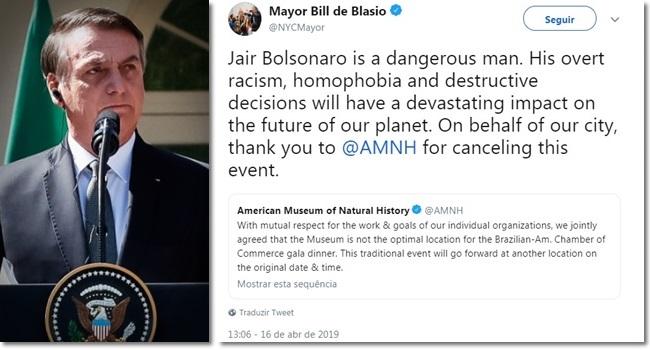 Prefeito de Nova York elogia museu por cancelar evento com Bolsonaro