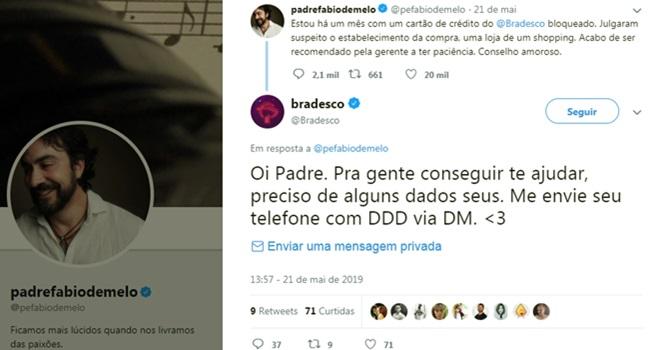 Bancos aproveitam reclamação do padre Fábio de Melo bradesco promover