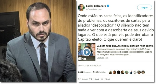 Carlos Bolsonaro derrubar meu pai capitão eleito presidência deputados