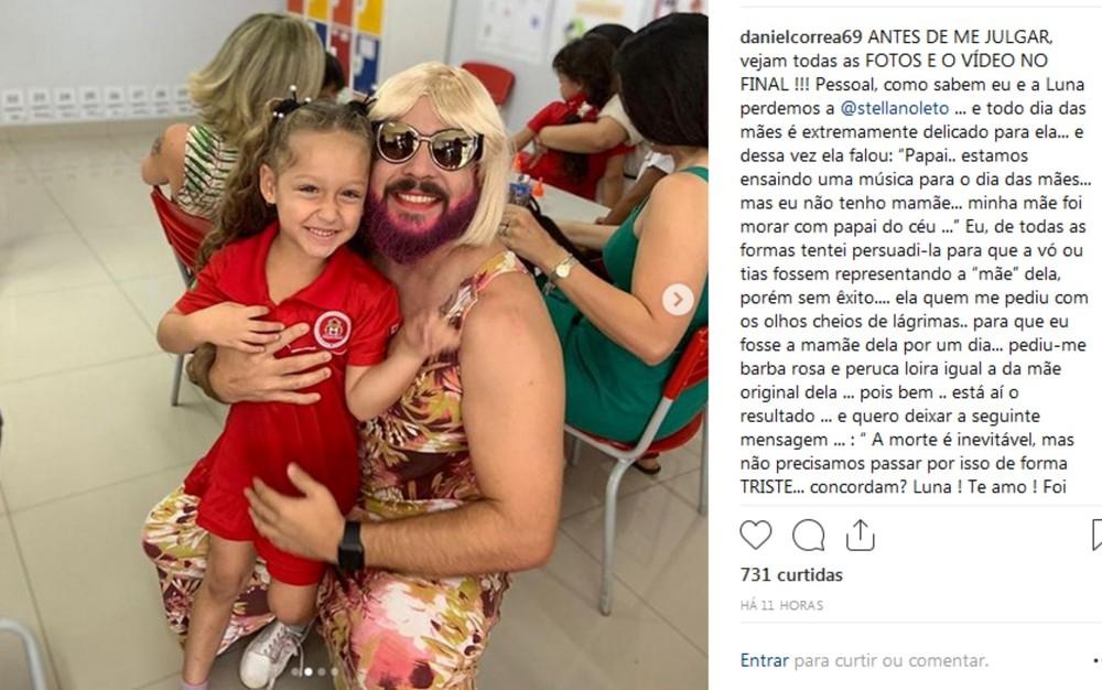 Daniel Correa viúvo filha Luna dia das mães